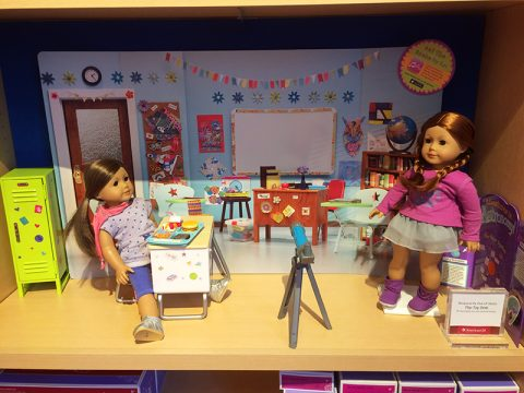 american-girl-classroom-scene-flip-top-desk-hot-lunch-set-school-locker-set-science-fair-set